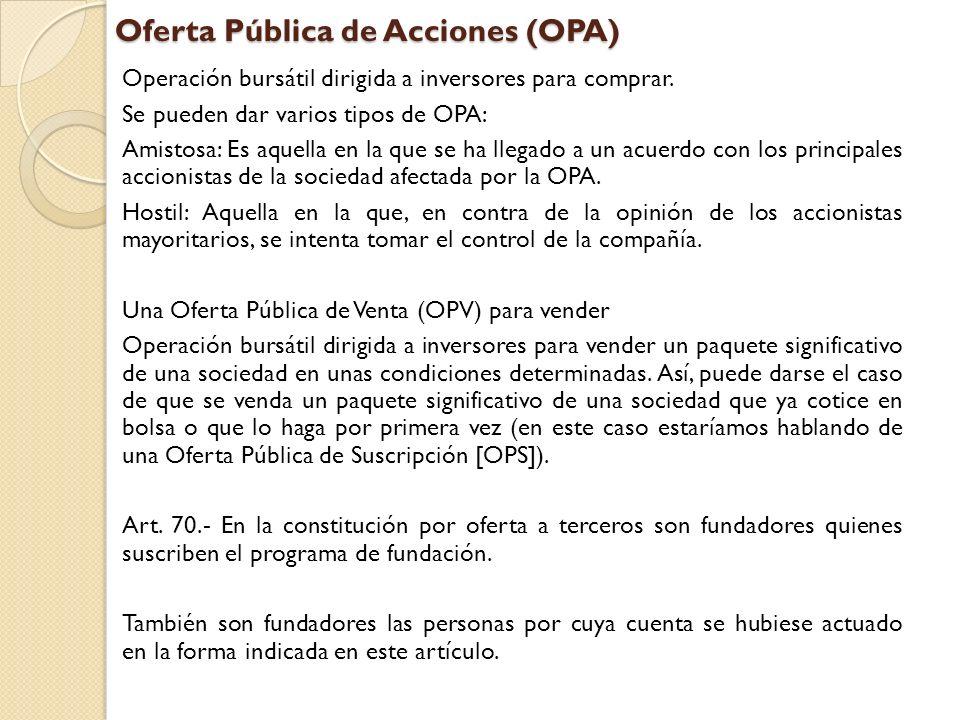 Oferta Pública de Acciones (OPA)