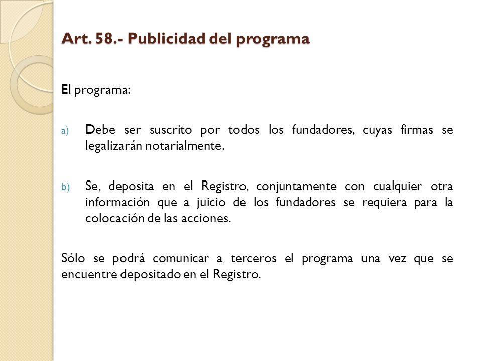 Art. 58.- Publicidad del programa