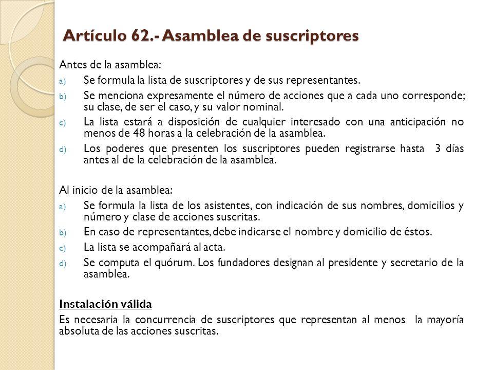Artículo 62.- Asamblea de suscriptores