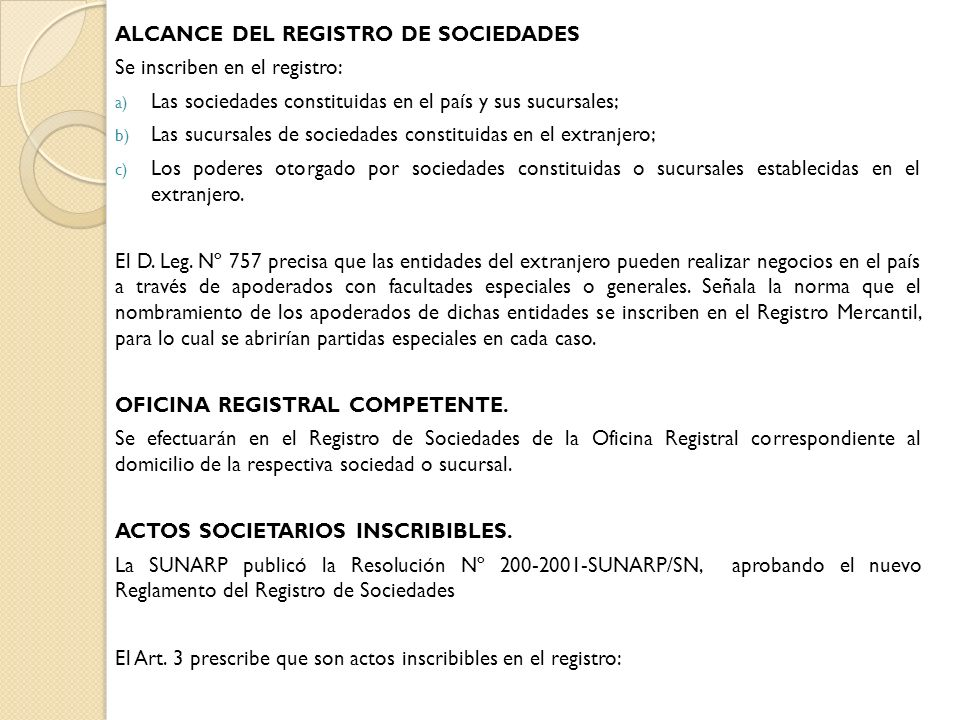 ALCANCE DEL REGISTRO DE SOCIEDADES