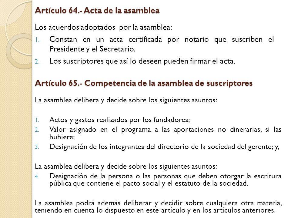 Artículo 64.- Acta de la asamblea