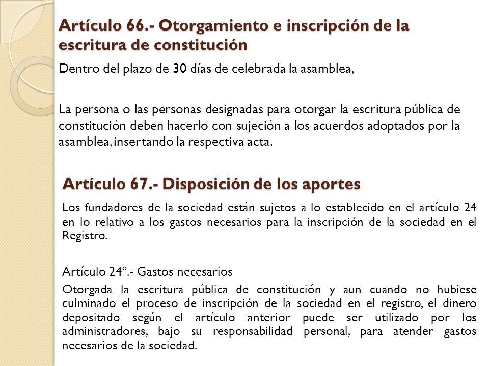 Artículo 67.- Disposición de los aportes