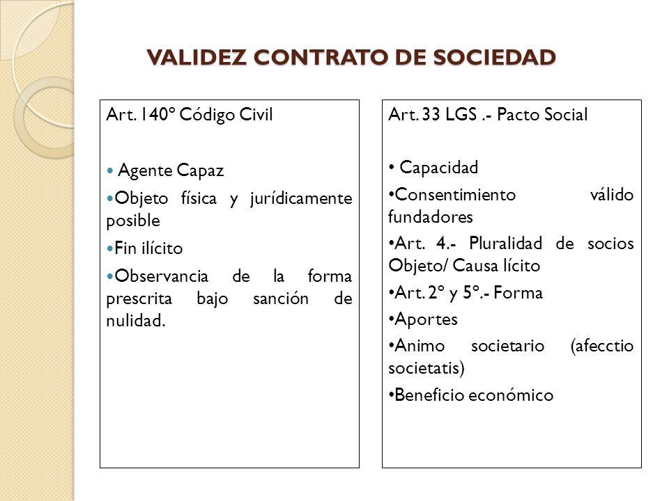 VALIDEZ CONTRATO DE SOCIEDAD