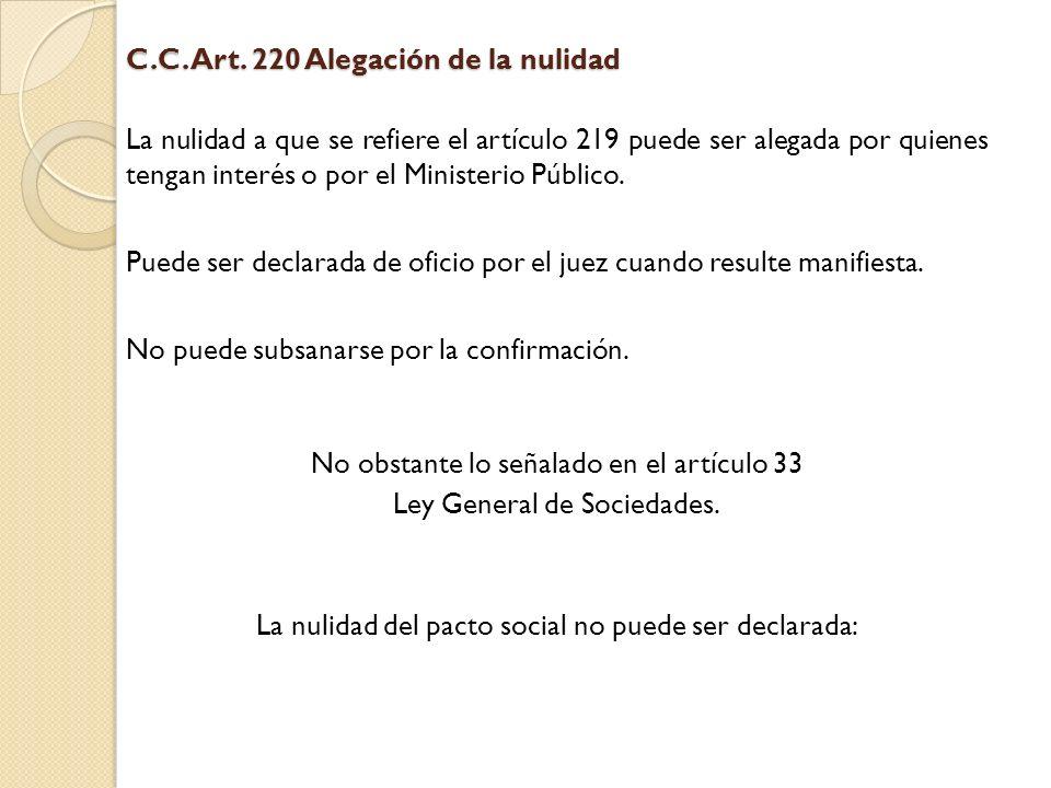 C.C. Art. 220 Alegación de la nulidad