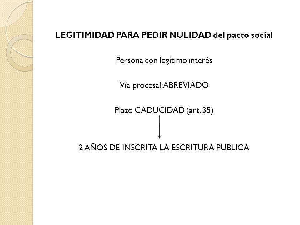 LEGITIMIDAD PARA PEDIR NULIDAD del pacto social Persona con legítimo interés Vía procesal: ABREVIADO Plazo CADUCIDAD (art.
