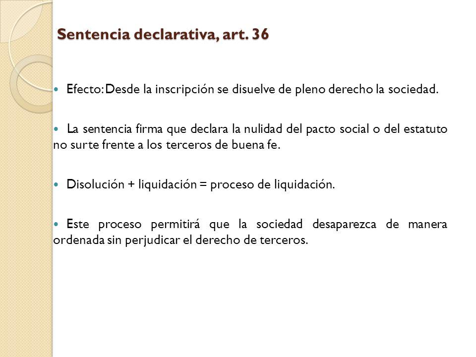 Sentencia declarativa, art. 36