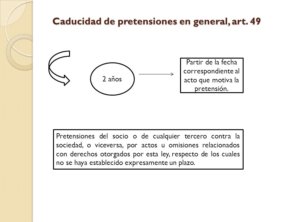 Caducidad de pretensiones en general, art. 49