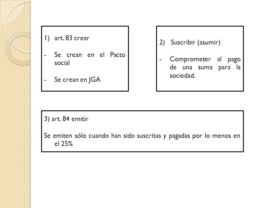 art. 83 crear Se crean en el Pacto social. Se crean en JGA. 2) Suscribir (asumir) Comprometer al pago de una suma para la sociedad.