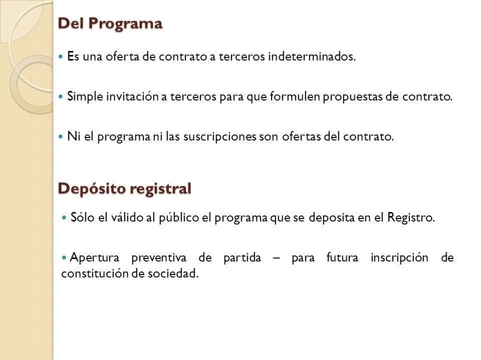 Del Programa Depósito registral