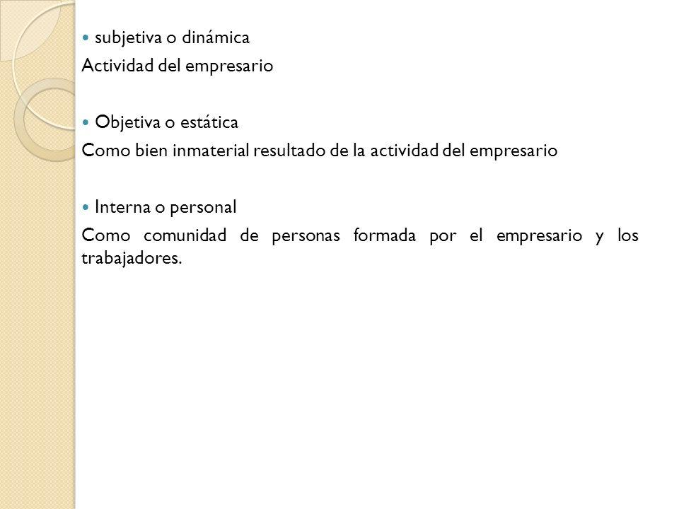 subjetiva o dinámica Actividad del empresario. Objetiva o estática. Como bien inmaterial resultado de la actividad del empresario.