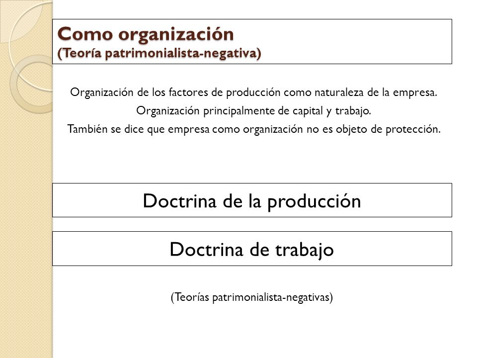 Como organización (Teoría patrimonialista-negativa)