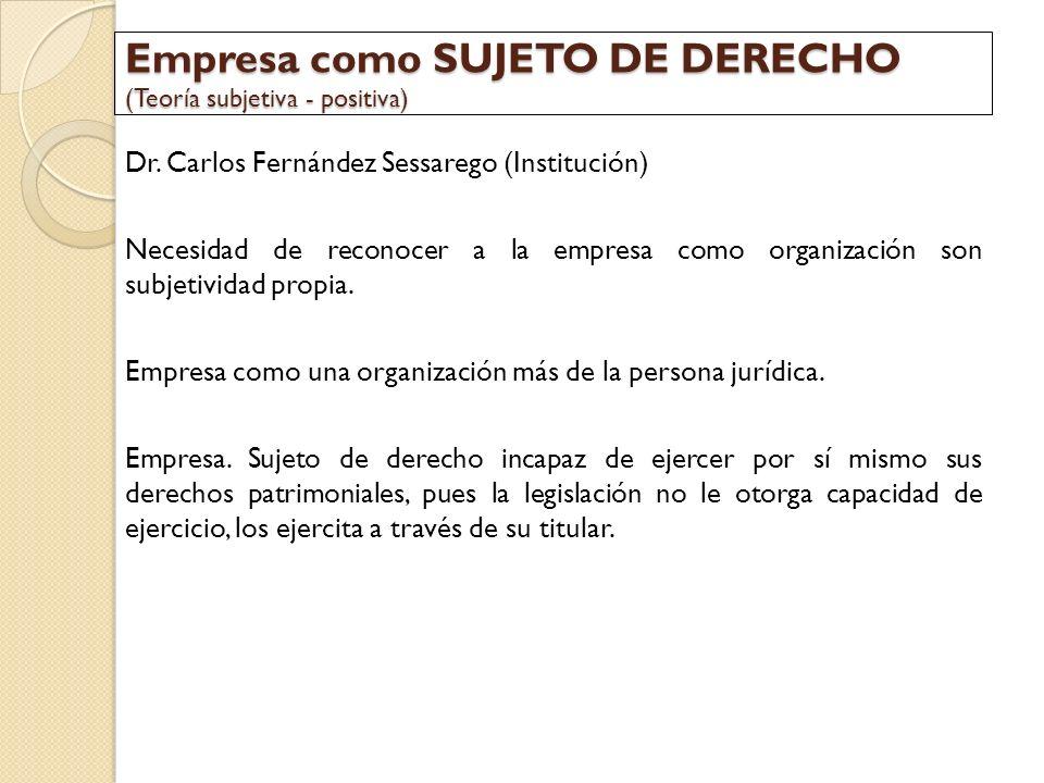 Empresa como SUJETO DE DERECHO (Teoría subjetiva - positiva)