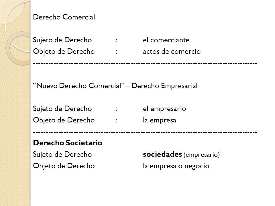 Derecho Comercial Sujeto de Derecho : el comerciante Objeto de Derecho : actos de comercio ------------------------------------------------------------------------------------------ Nuevo Derecho Comercial – Derecho Empresarial Sujeto de Derecho : el empresario Objeto de Derecho : la empresa Derecho Societario Sujeto de Derecho sociedades (empresario) Objeto de Derecho la empresa o negocio