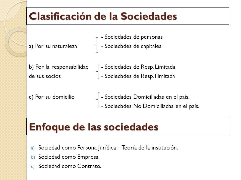 Clasificación de la Sociedades