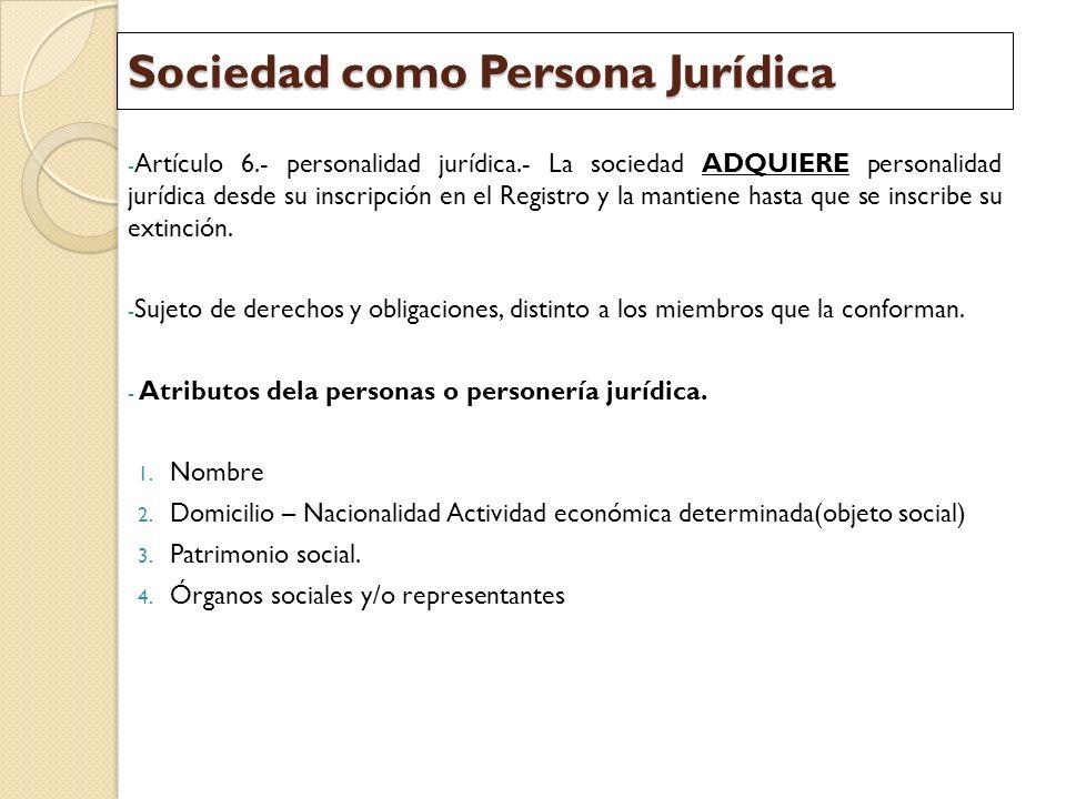 Sociedad como Persona Jurídica