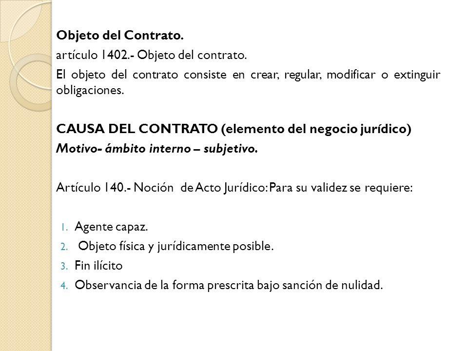 Objeto del Contrato. artículo 1402.- Objeto del contrato. El objeto del contrato consiste en crear, regular, modificar o extinguir obligaciones.