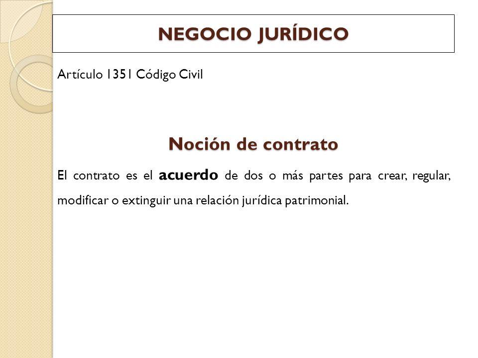 NEGOCIO JURÍDICO Noción de contrato