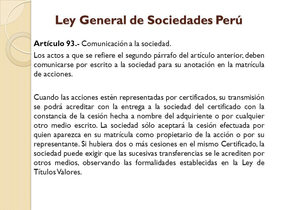 Ley General de Sociedades Perú