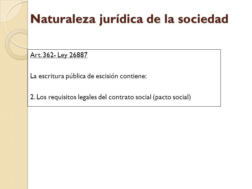 Naturaleza jurídica de la sociedad