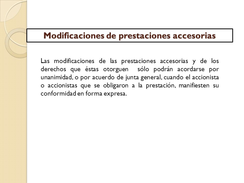 Modificaciones de prestaciones accesorias