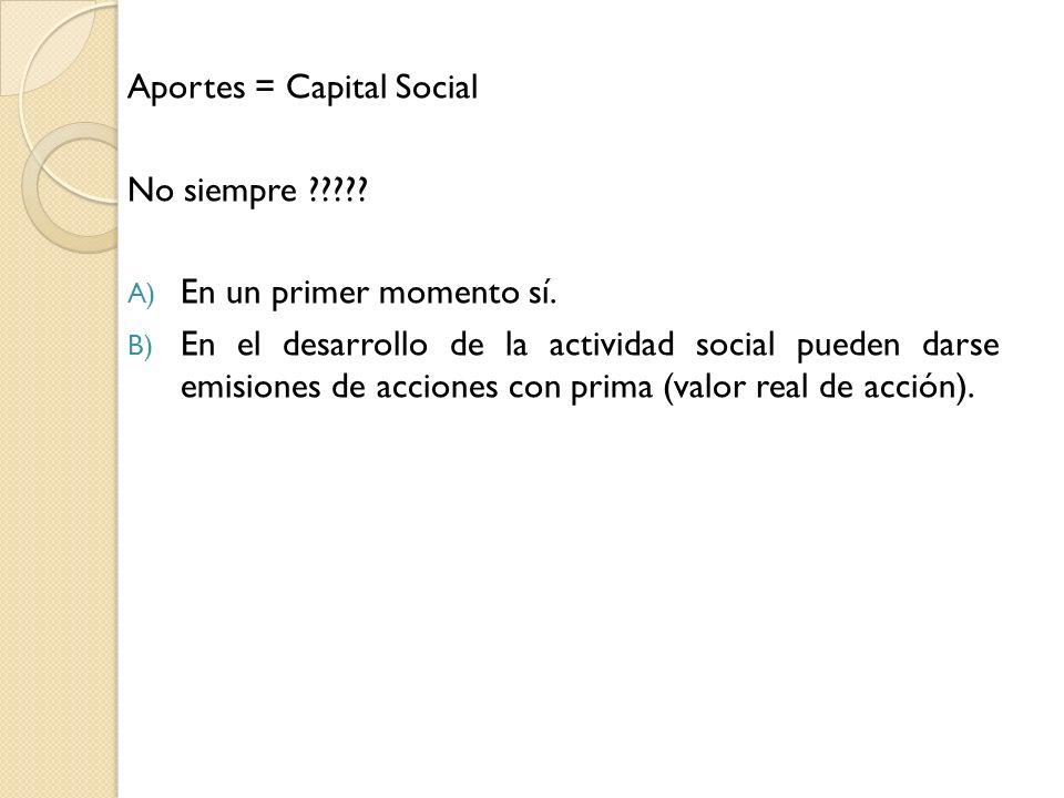 Aportes = Capital Social