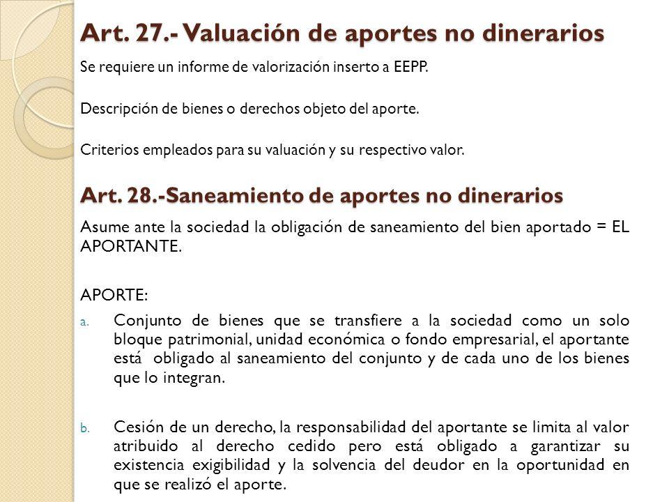 Art. 27.- Valuación de aportes no dinerarios