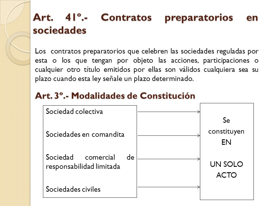 Art. 41º.- Contratos preparatorios en sociedades