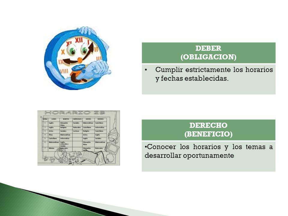 DEBER (OBLIGACION) Cumplir estrictamente los horarios y fechas establecidas. DERECHO. (BENEFICIO)
