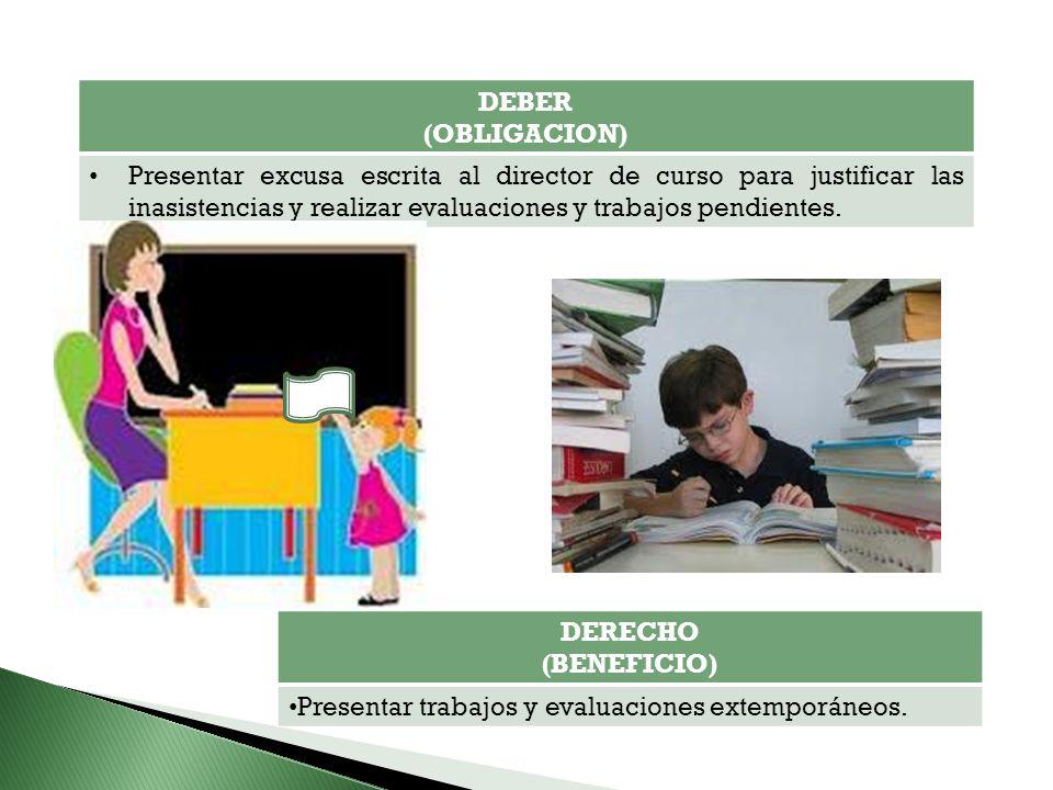 DEBER (OBLIGACION) Presentar excusa escrita al director de curso para justificar las inasistencias y realizar evaluaciones y trabajos pendientes.