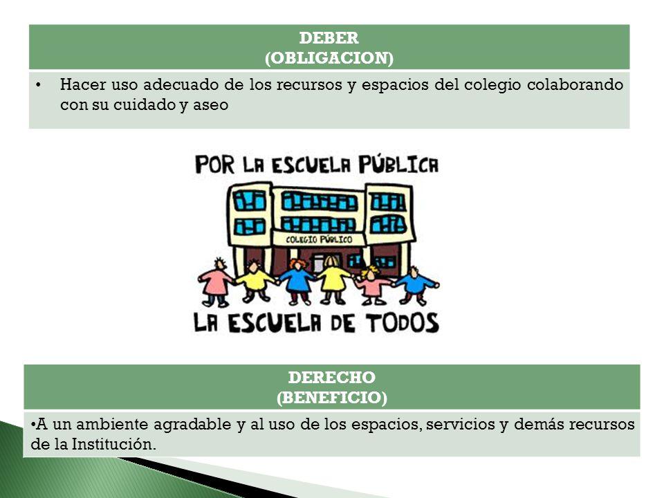 DEBER (OBLIGACION) Hacer uso adecuado de los recursos y espacios del colegio colaborando con su cuidado y aseo.