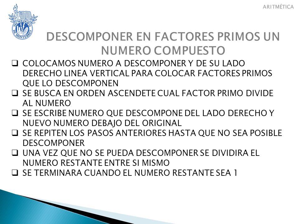 DESCOMPONER EN FACTORES PRIMOS UN NUMERO COMPUESTO