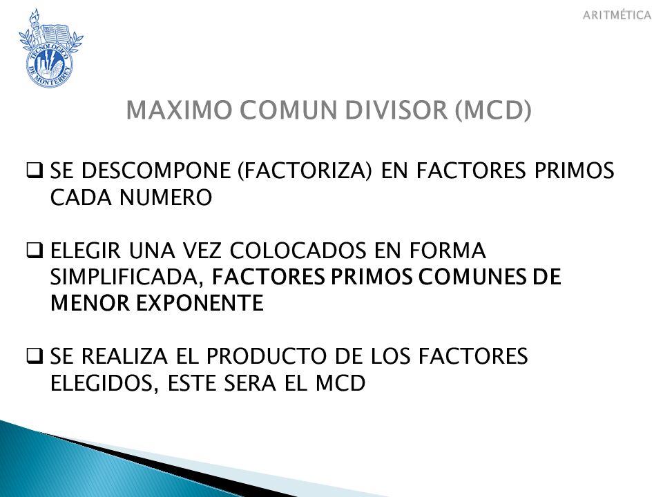 MAXIMO COMUN DIVISOR (MCD)
