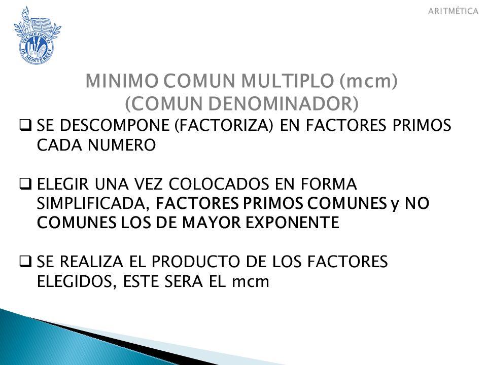 MINIMO COMUN MULTIPLO (mcm)