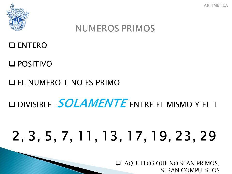 2, 3, 5, 7, 11, 13, 17, 19, 23, 29 NUMEROS PRIMOS ENTERO POSITIVO
