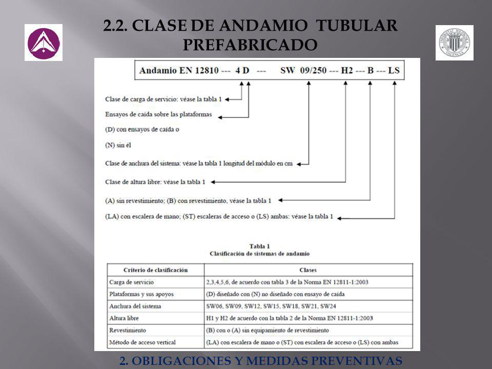 2.2. CLASE DE ANDAMIO TUBULAR PREFABRICADO