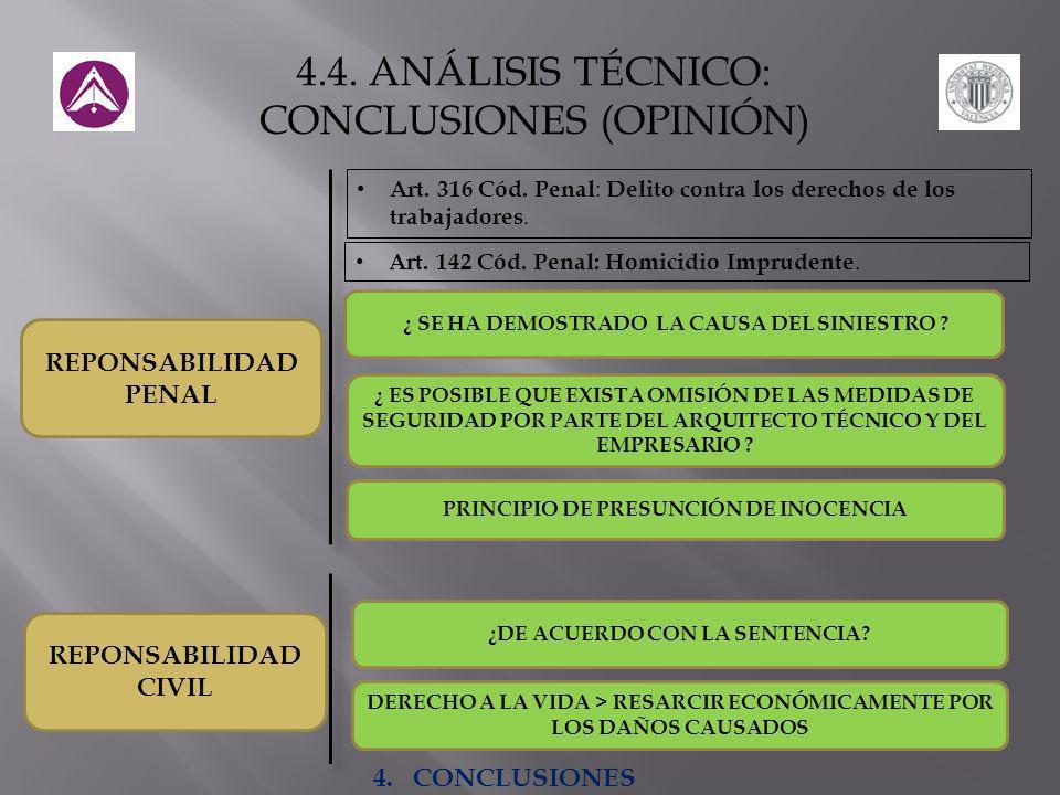 4.4. ANÁLISIS TÉCNICO: CONCLUSIONES (OPINIÓN)