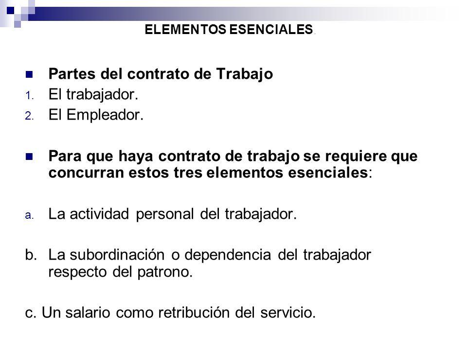 Partes del contrato de Trabajo El trabajador. El Empleador.