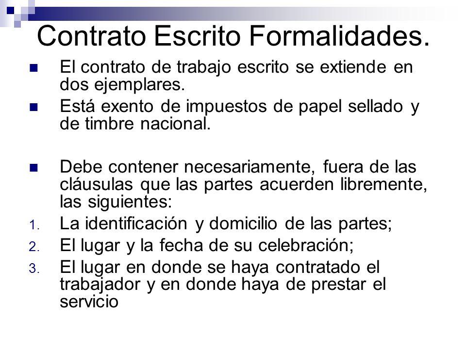 Contrato Escrito Formalidades.