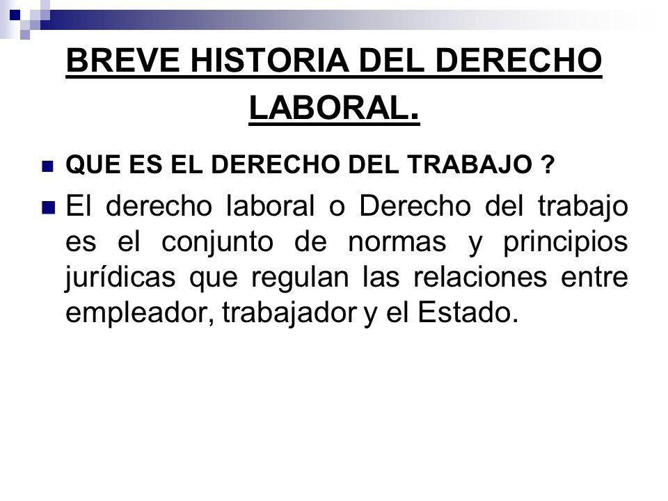 BREVE HISTORIA DEL DERECHO LABORAL.