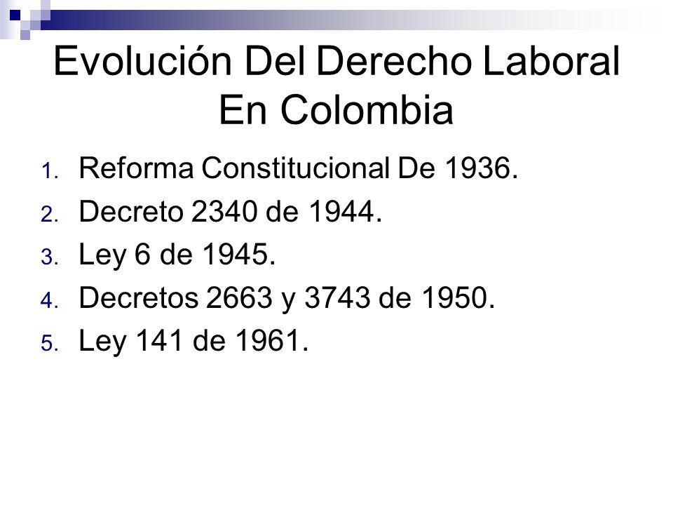 Evolución Del Derecho Laboral En Colombia