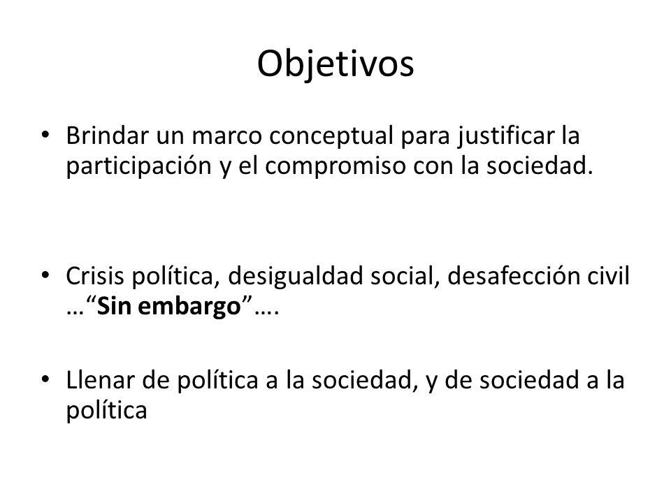Objetivos Brindar un marco conceptual para justificar la participación y el compromiso con la sociedad.