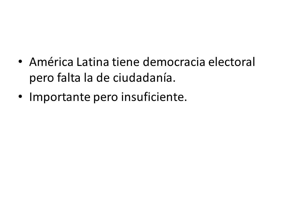 América Latina tiene democracia electoral pero falta la de ciudadanía.