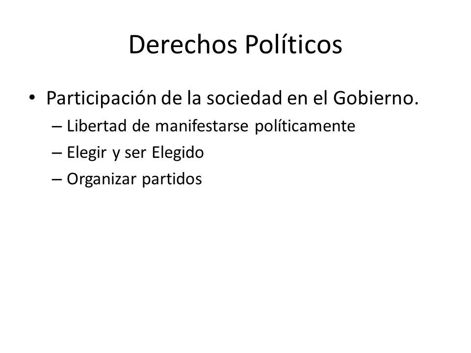 Derechos Políticos Participación de la sociedad en el Gobierno.