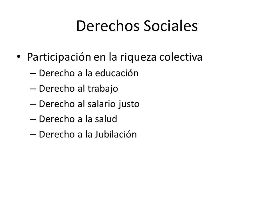 Derechos Sociales Participación en la riqueza colectiva