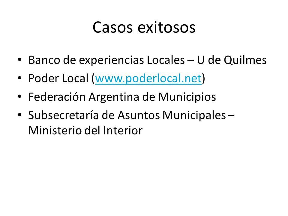 Casos exitosos Banco de experiencias Locales – U de Quilmes