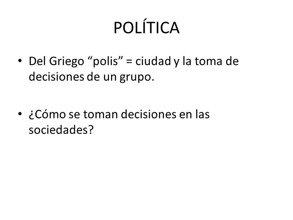 POLÍTICA Del Griego polis = ciudad y la toma de decisiones de un grupo.