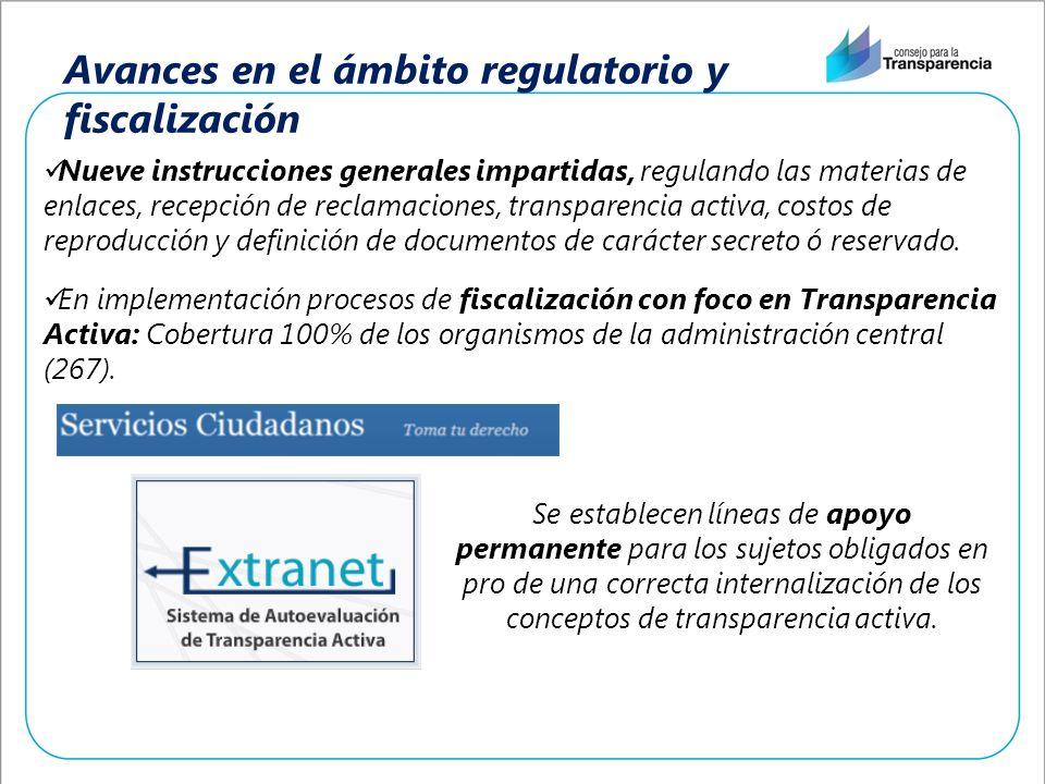 Avances en el ámbito regulatorio y fiscalización