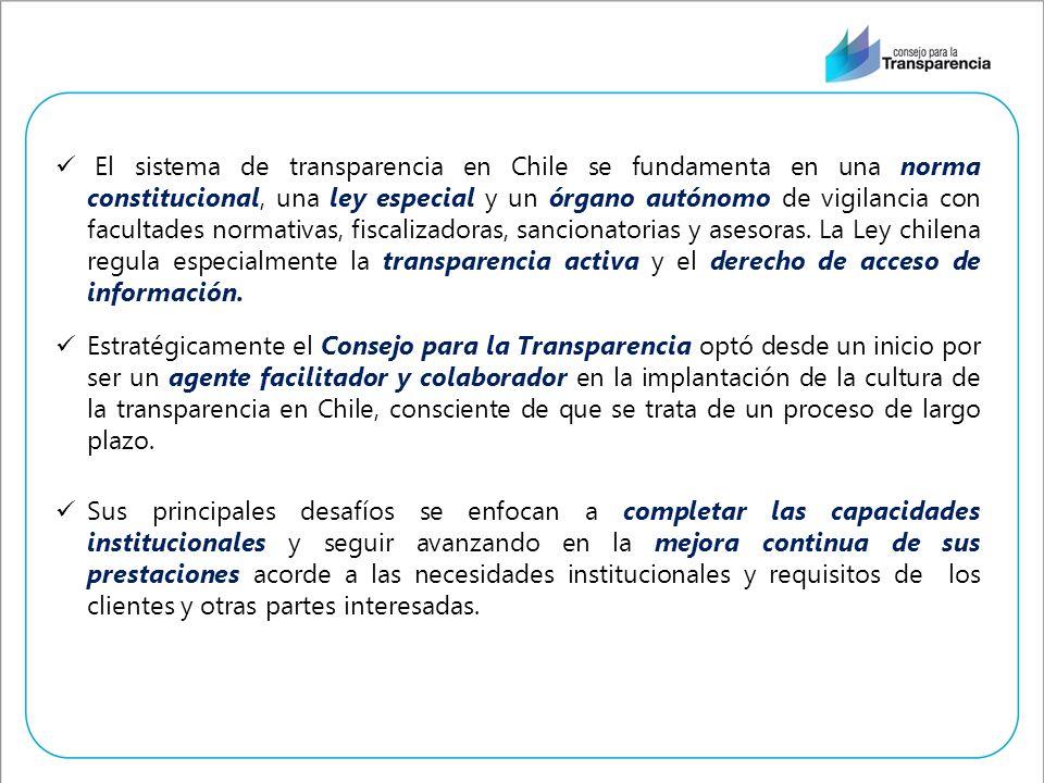 El sistema de transparencia en Chile se fundamenta en una norma constitucional, una ley especial y un órgano autónomo de vigilancia con facultades normativas, fiscalizadoras, sancionatorias y asesoras. La Ley chilena regula especialmente la transparencia activa y el derecho de acceso de información.