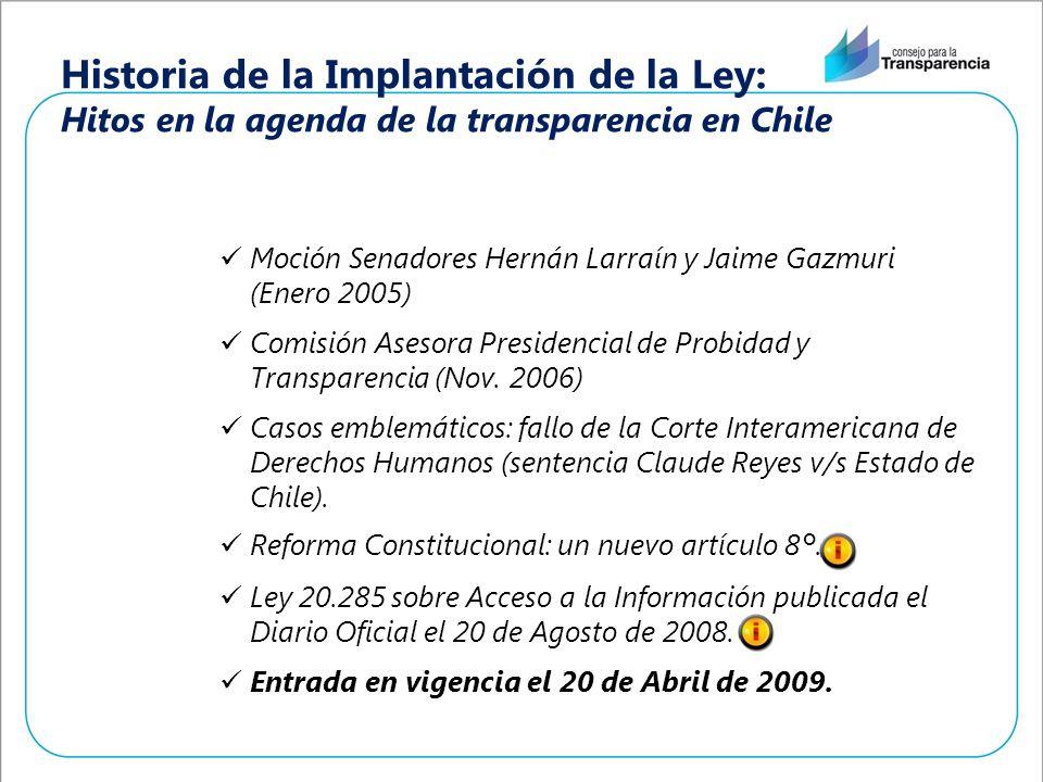 Historia de la Implantación de la Ley: Hitos en la agenda de la transparencia en Chile