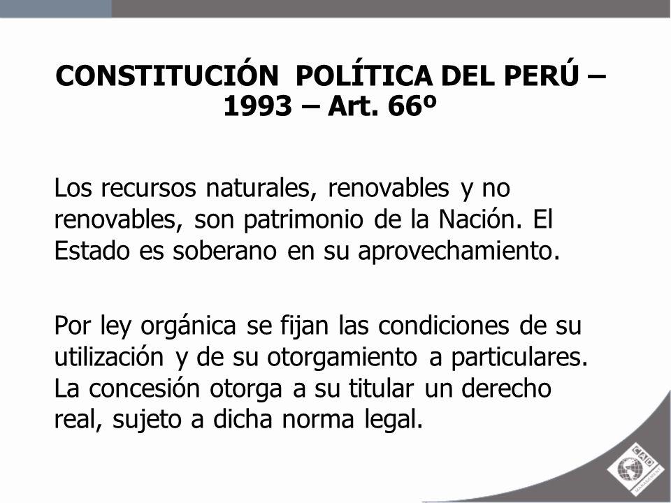 CONSTITUCIÓN POLÍTICA DEL PERÚ – 1993 – Art. 66º